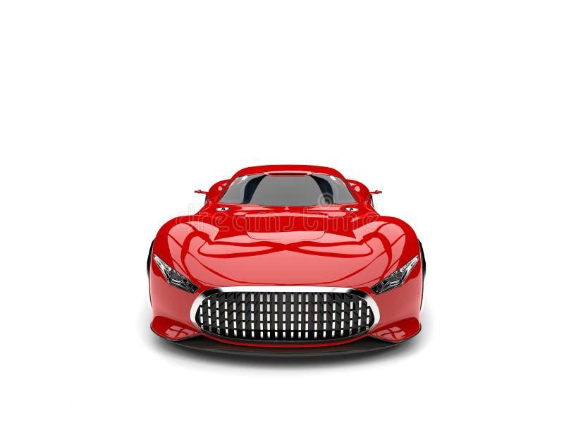 Ateie fogo à opinião dianteira automobilístico dos esportes super modernos vermelhos ilustração royalty free