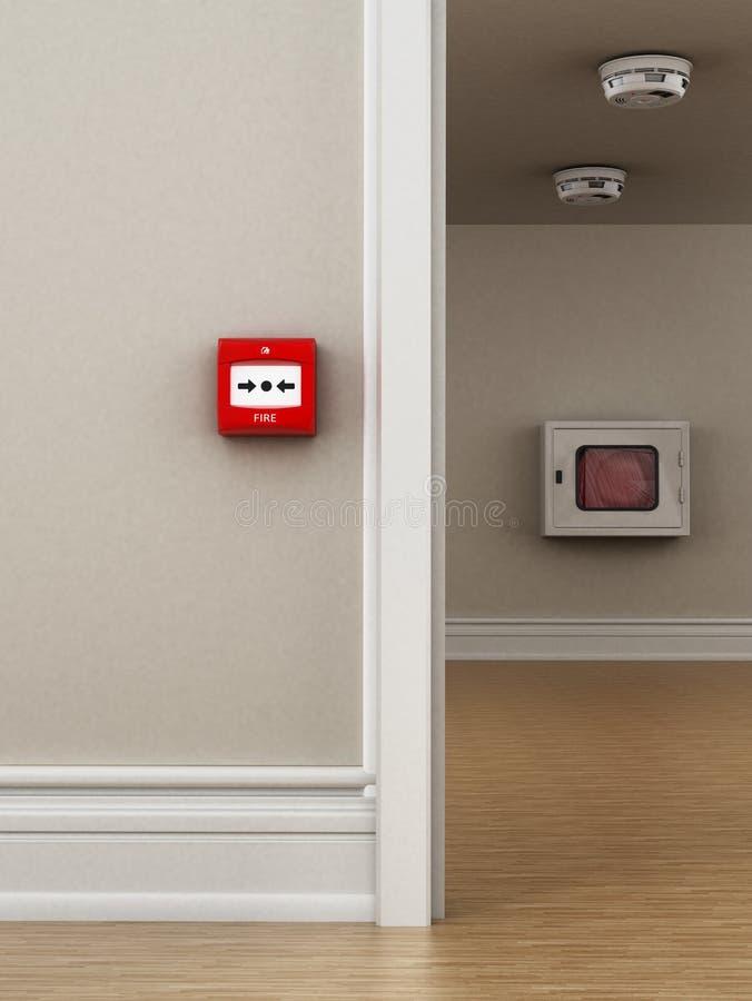 Ateie fogo ao botão, aos detectores de fumo e à mangueira na parede ilustração 3D ilustração do vetor