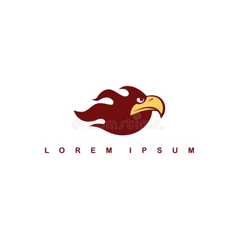 ateie fogo ao molde do logotipo do pássaro do falcão da águia do tema da chama ilustração stock