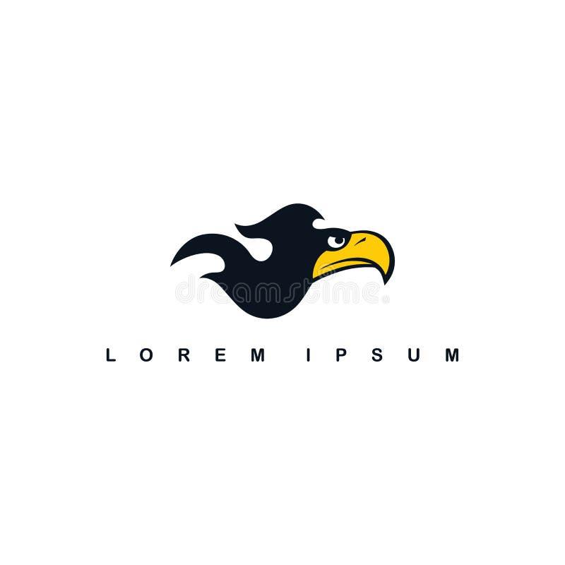ateie fogo ao molde do logotipo do pássaro do falcão da águia do tema da chama ilustração do vetor
