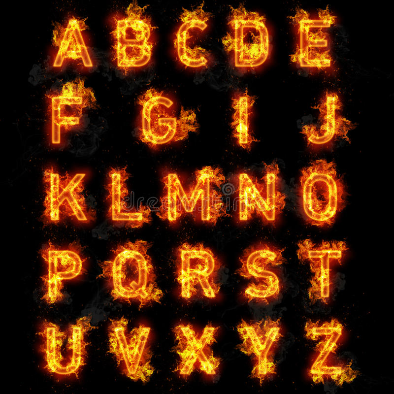Ateie fogo ao texto da fonte todas as letras do alfabeto no fundo preto ilustração stock