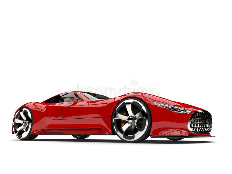 Ateie fogo ao tiro automobilístico do baixo ângulo dos esportes super modernos vermelhos ilustração stock