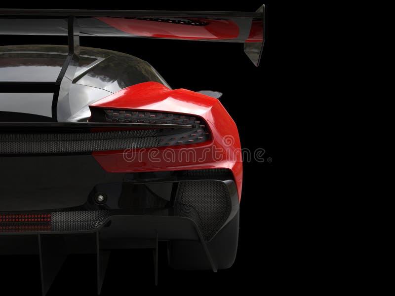 Ateie fogo ao tiro traseiro automobilístico do close up da asa dos esportes vermelhos ilustração stock