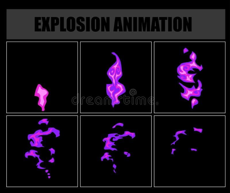 Ateie fogo aos duendes da animação, quadros video da chama do vetor para o projeto de jogo ilustração stock