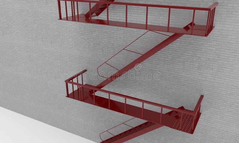 Ateie fogo a escadas, projeto tridimensional, rendição do fundo 3d ilustração do vetor