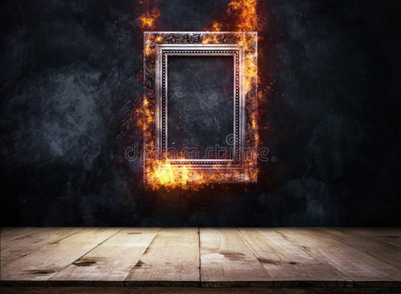 Ateie fogo a moldura para retrato antiga de prata ardente em wi escuros da parede do grunge ilustração do vetor