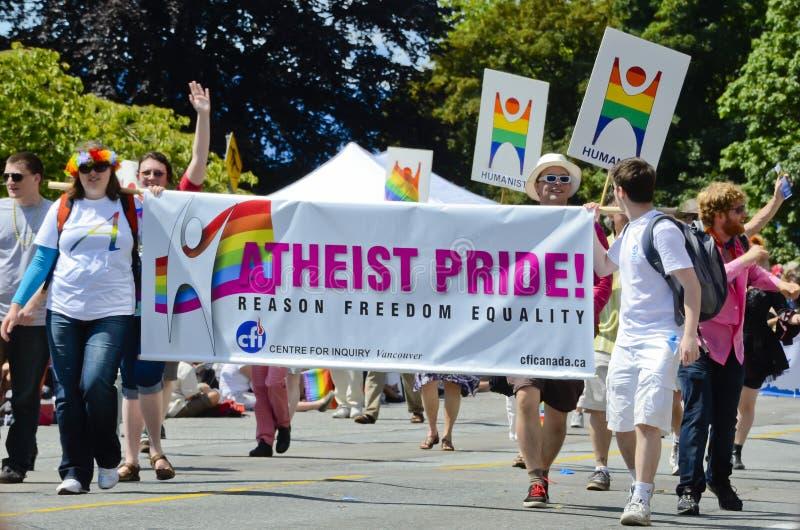 ateisten ståtar stolthet vancouver royaltyfria bilder