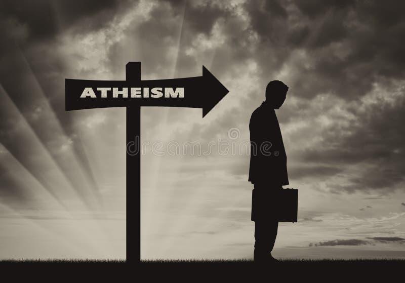 Ateistyczni mężczyzna stojaki zbliżają drogowego znaka ateizm ilustracji