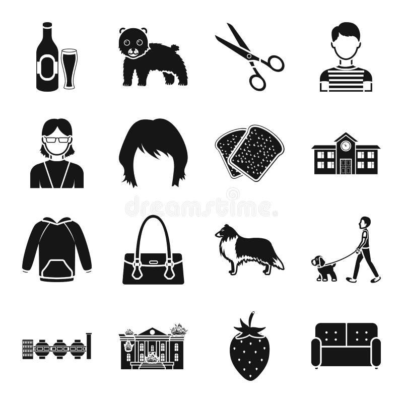 Atelier, еда, архитектура и другой значок сети в черном стиле иллюстрация штока