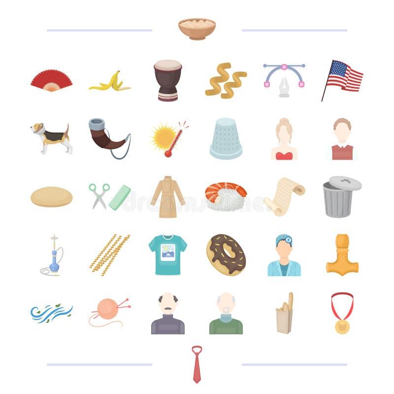 Atelier, погода и другой значок сети в стиле шаржа возникновение, Викинг, значки Америки в собрании комплекта иллюстрация вектора
