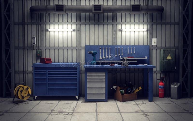 Atelier de garage rendu 3d illustration de vecteur