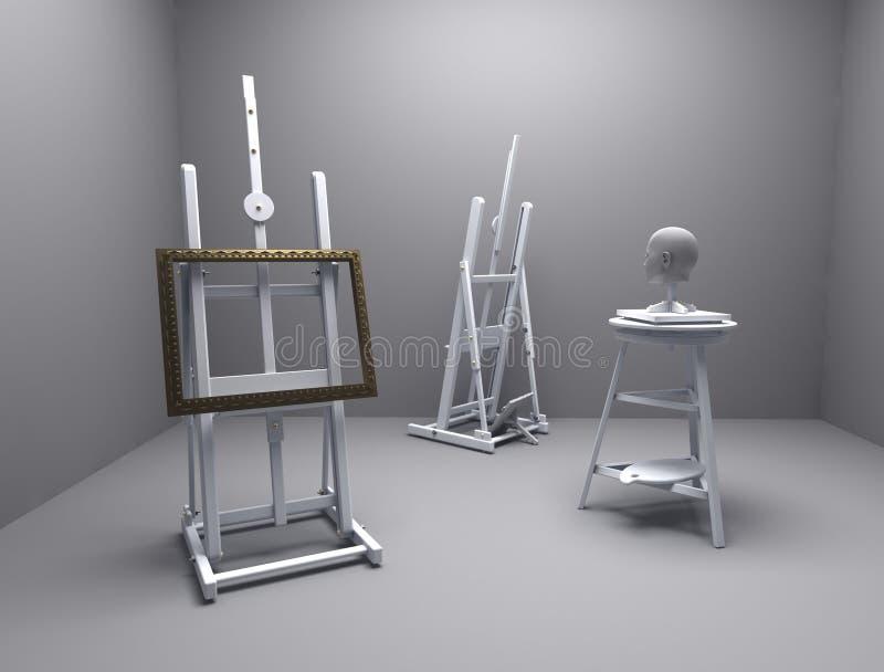 Atelier do pintor e do escultor ilustração royalty free