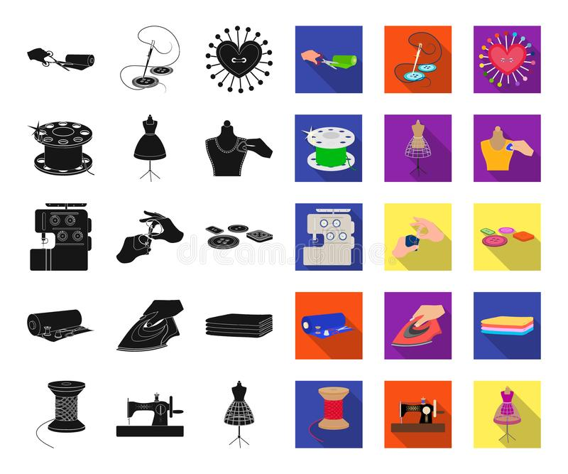 Atelier and equipment black,flat icons in set collection for design. Sewing of outer clothing vector symbol stock web. Atelier and equipment black,flat icons in royalty free illustration