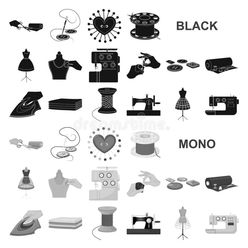 Atelier and equipment black icons in set collection for design. Sewing of outer clothing vector symbol stock web. Atelier and equipment black icons in set stock illustration