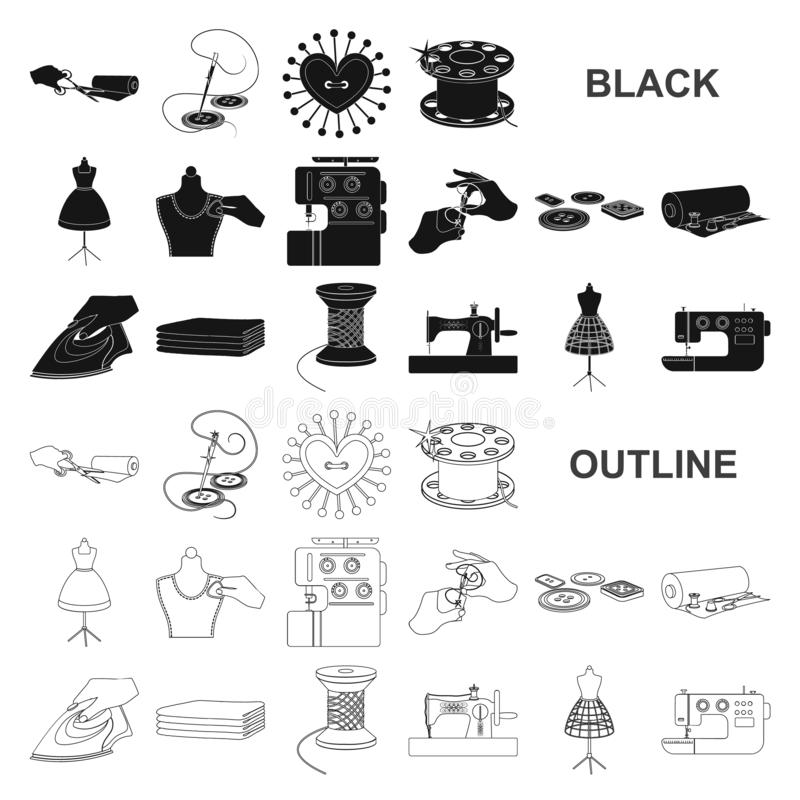 Atelier and equipment black icons in set collection for design. Sewing of outer clothing vector symbol stock web. Atelier and equipment black icons in set royalty free illustration