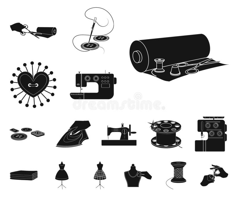 Atelier and equipment black icons in set collection for design. Sewing of outer clothing vector symbol stock web. Atelier and equipment black icons in set vector illustration