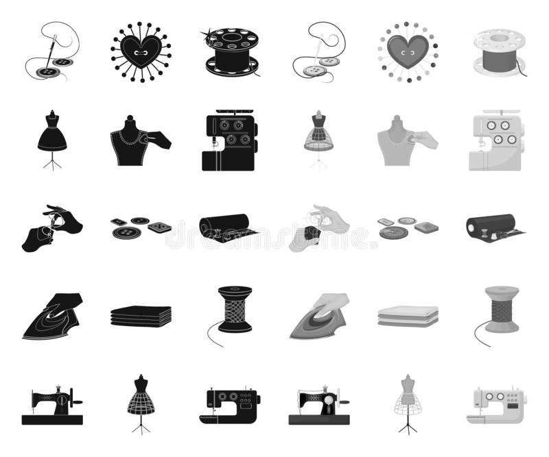 Atelier and equipment black.mono icons in set collection for design. Sewing of outer clothing vector symbol stock web. Atelier and equipment black.mono icons in stock illustration