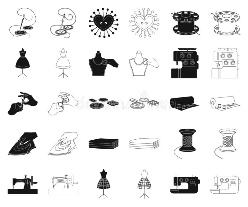 Atelier and equipment black,outline icons in set collection for design. Sewing of outer clothing vector symbol stock web. Atelier and equipment black,outline stock illustration