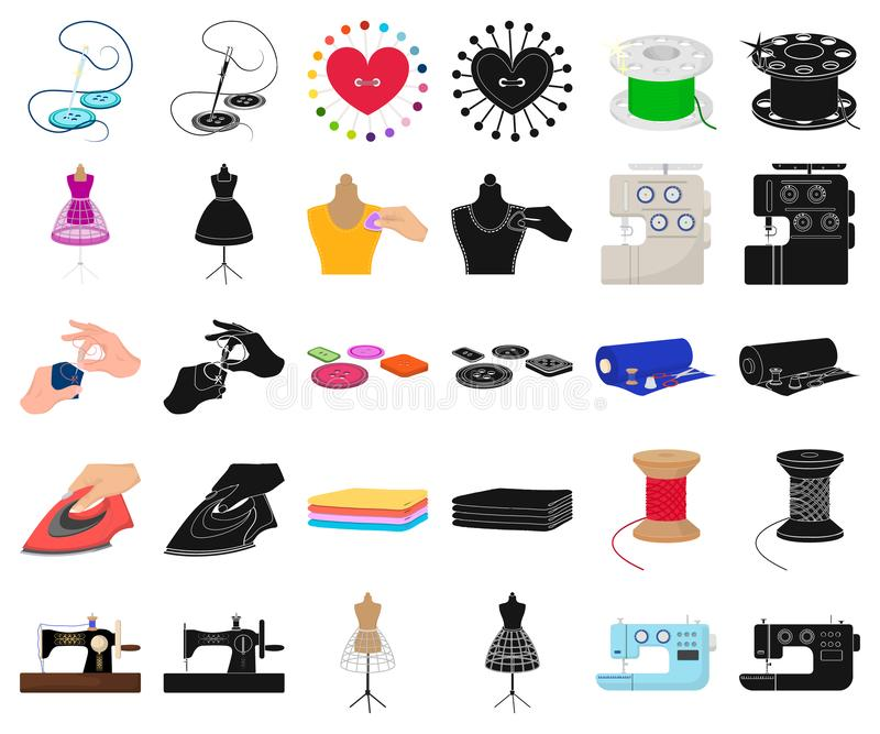 Atelier and equipment cartoon,black icons in set collection for design. Sewing of outer clothing vector symbol stock web. Atelier and equipment cartoon,black royalty free illustration