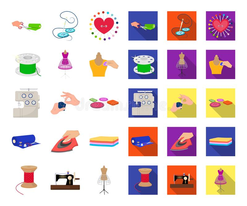 Atelier and equipment cartoon,flat icons in set collection for design. Sewing of outer clothing vector symbol stock web. Atelier and equipment cartoon,flat icons royalty free illustration