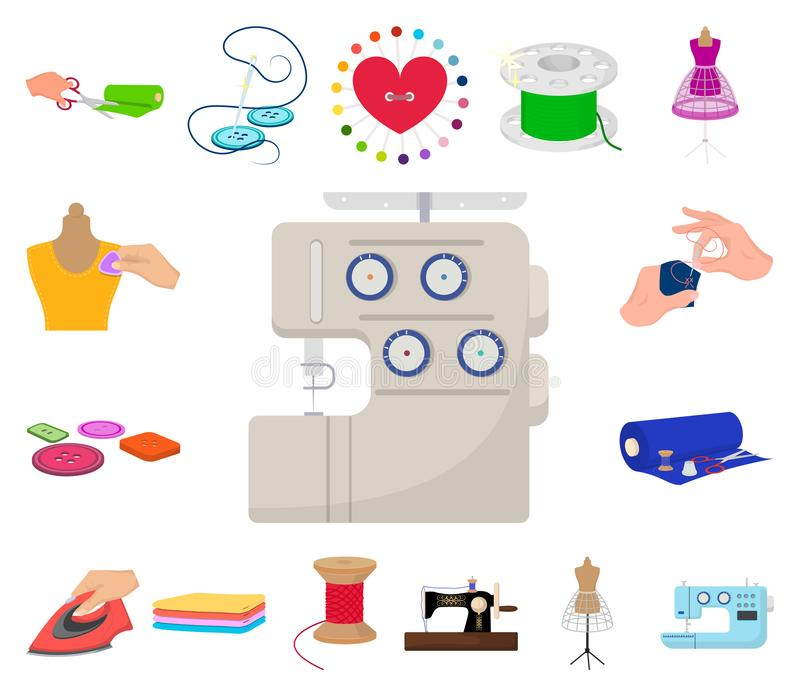 Atelier and equipment cartoon icons in set collection for design. Sewing of outer clothing vector symbol stock web. Atelier and equipment cartoon icons in set royalty free illustration