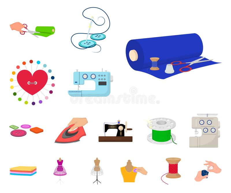 Atelier and equipment cartoon icons in set collection for design. Sewing of outer clothing vector symbol stock web. Atelier and equipment cartoon icons in set vector illustration