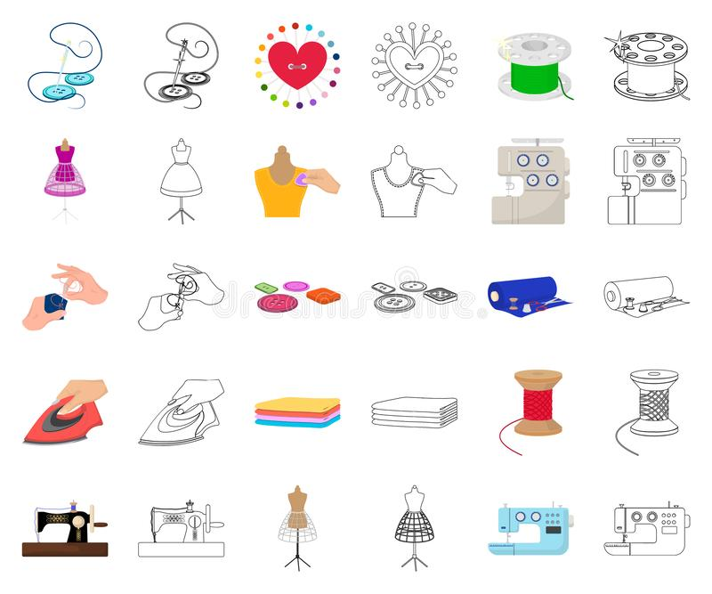 Atelier and equipment cartoon,outline icons in set collection for design. Sewing of outer clothing vector symbol stock. Illustration royalty free illustration