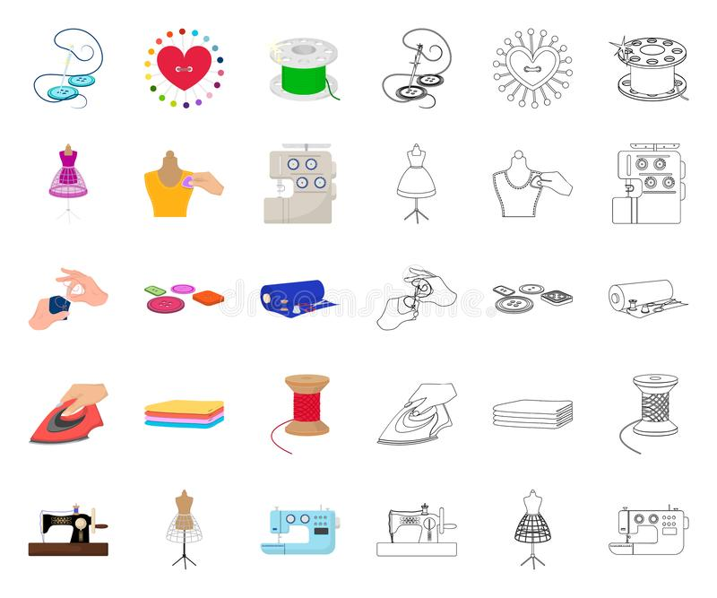 Atelier and equipment cartoon,outline icons in set collection for design. Sewing of outer clothing vector symbol stock. Illustration vector illustration