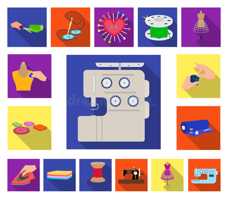 Atelier and equipment flat icons in set collection for design. Sewing of outer clothing vector symbol stock web. Atelier and equipment flat icons in set stock illustration