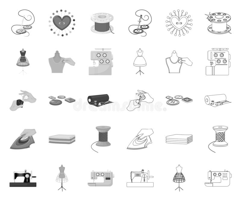 Atelier and equipment mono,outline icons in set collection for design. Sewing of outer clothing vector symbol stock web. Atelier and equipment mono,outline icons vector illustration