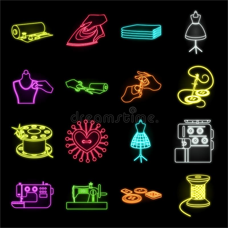 Atelier and equipment neon icons in set collection for design. Sewing of outer clothing vector symbol stock web. Atelier and equipment neon icons in set royalty free illustration