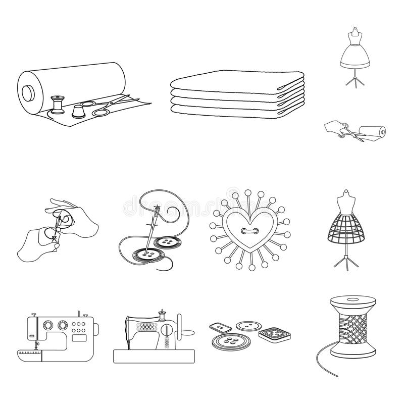 Atelier and equipment outline icons in set collection for design. Sewing of outer clothing vector symbol stock web. Atelier and equipment outline icons in set royalty free illustration