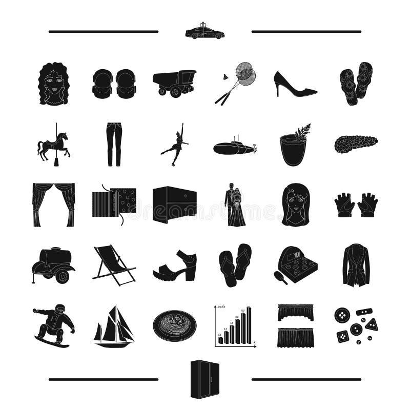 Atelier, repos, sports et toute autre icône de Web dans le style noir mariage, meubles, icônes intérieures dans la collection d'e illustration libre de droits