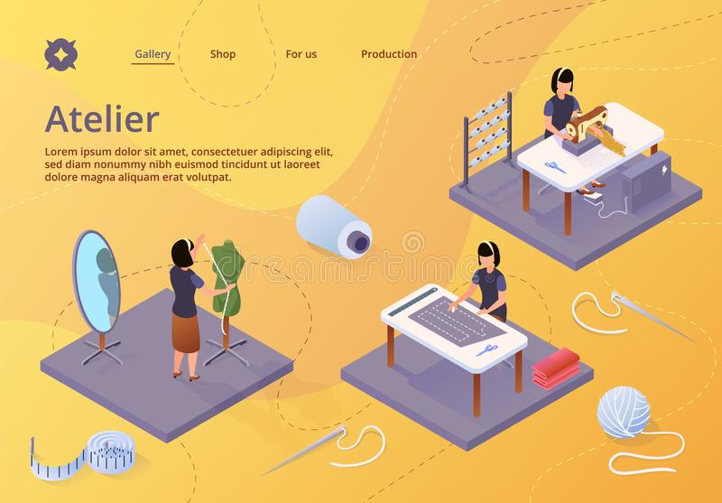 Atelier, Textile Craft Business, Isometric Banner stock illustration