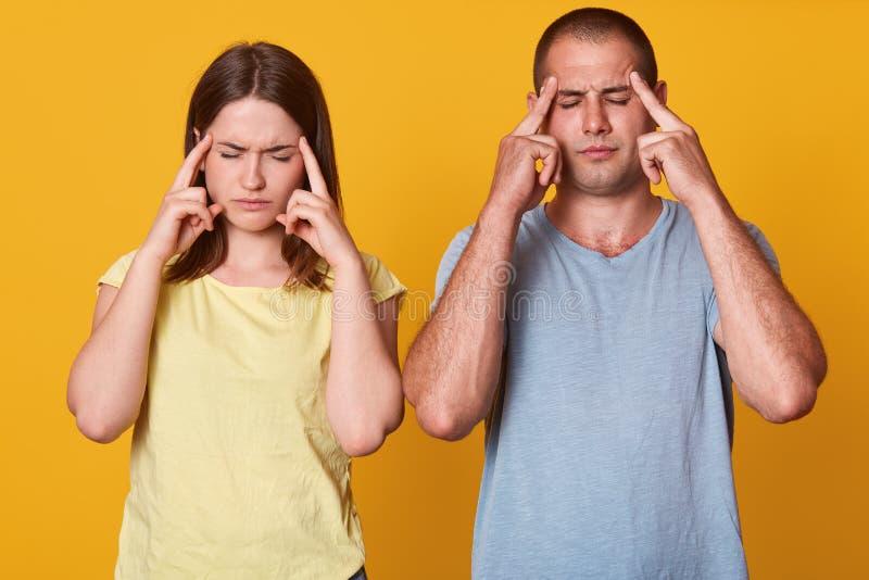Atelieraufnahme der ernsten Frau und Mann halten Vorderfinger auf Tempel, versuchen, Lösung im Verstand zu finden, tragen zufälli stockfoto