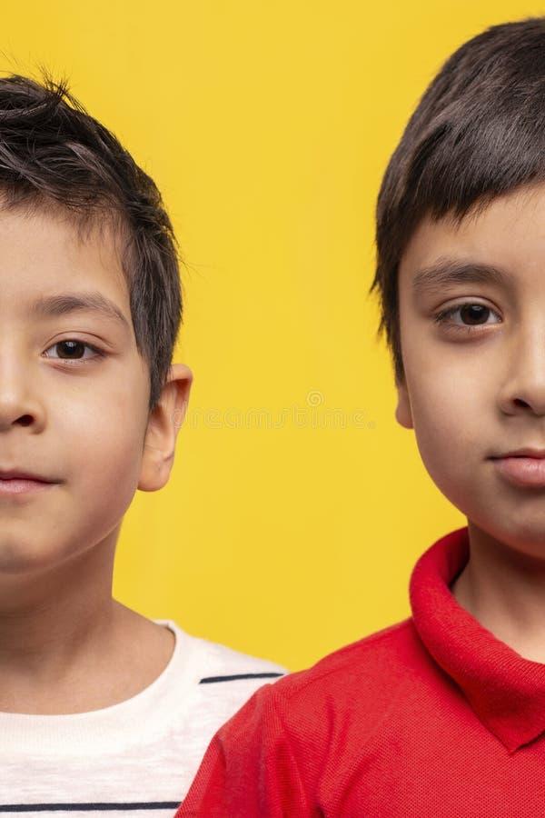 Atelieraufnahme der zwei Hälften des Gesichtes von zwei Jungenbrüdern, welche die Kamera auf einem gelben Hintergrund betrachten lizenzfreie stockbilder