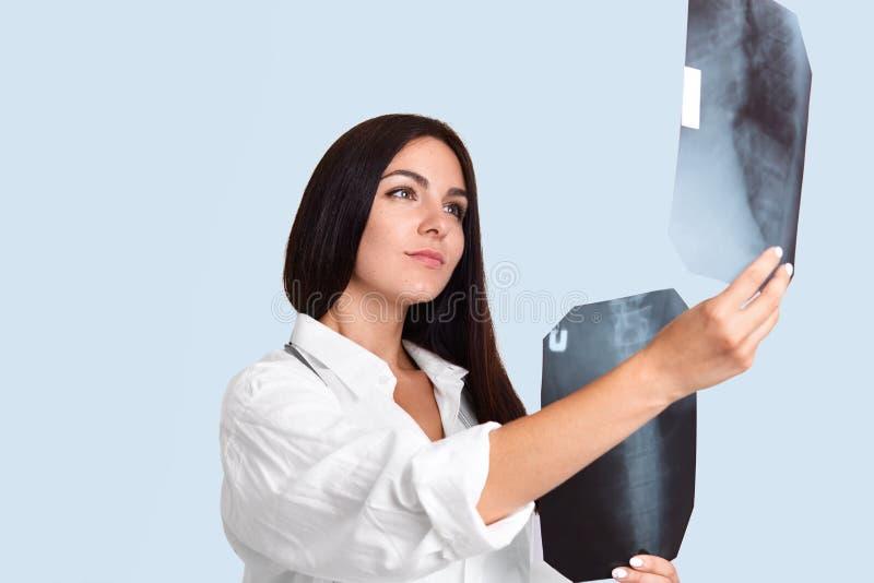 Atelieraufnahme des weiblichen Berufsradiologen studiert x-Strahlnbilder und vergleicht vor und nach Behandlung, hat ernste Gesic lizenzfreies stockfoto