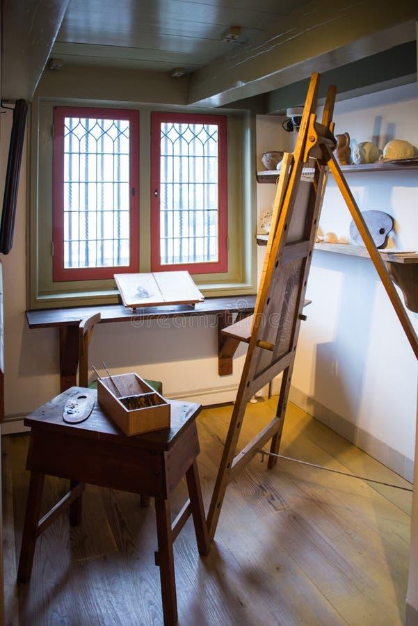 Atelieren i det Rembrandt museet fotografering för bildbyråer