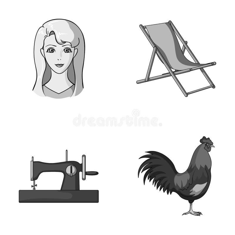 Atelieren, loppet och annan monokrom symbol i tecknad film utformar yrke fågelsymboler i uppsättningsamling royaltyfri illustrationer