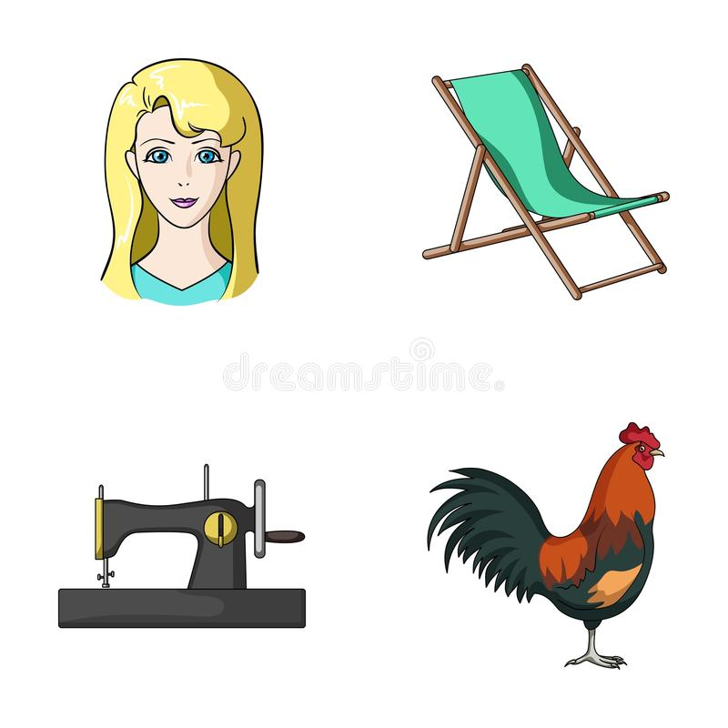 Atelieren, loppet och annan rengöringsduksymbol i tecknad film utformar yrke fågelsymboler i uppsättningsamling vektor illustrationer