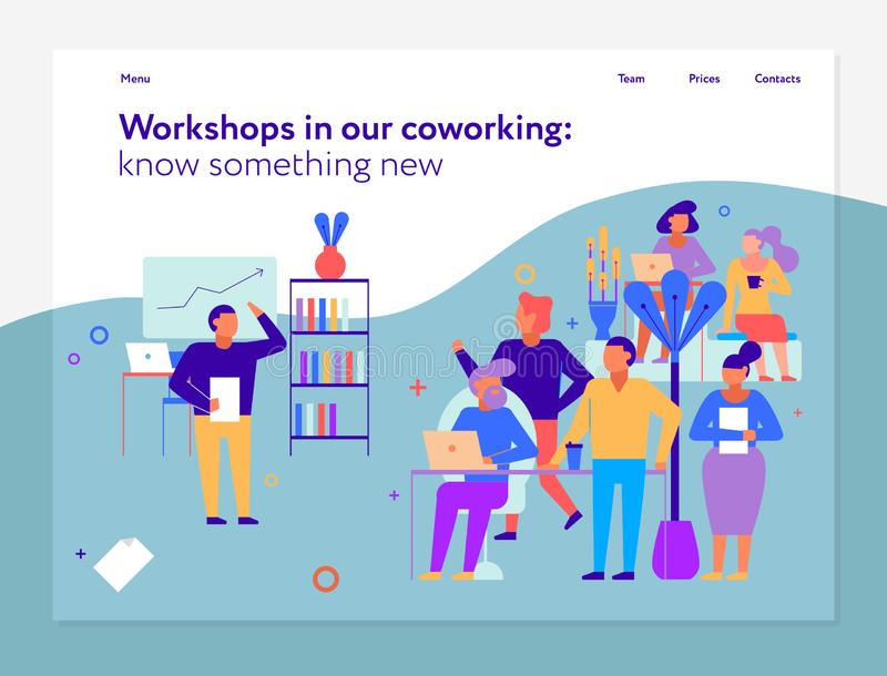 Ateliers dans la conception de page de Coworking illustration libre de droits
