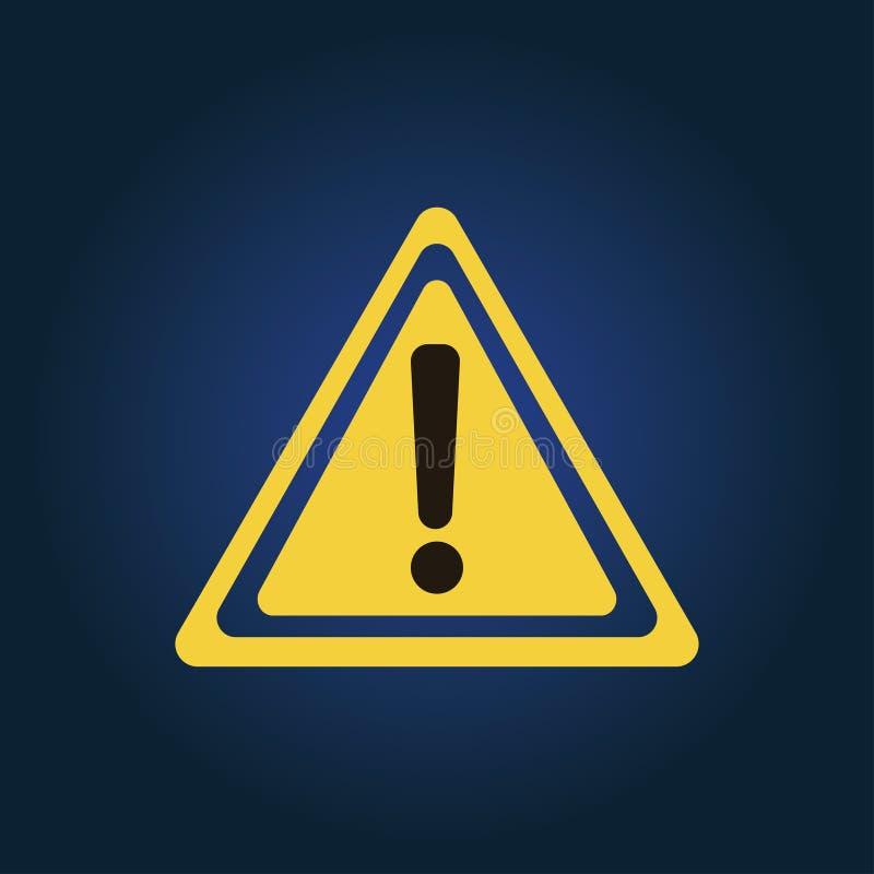 Atenção amarela, ícone do perigo no triângulo ilustração stock