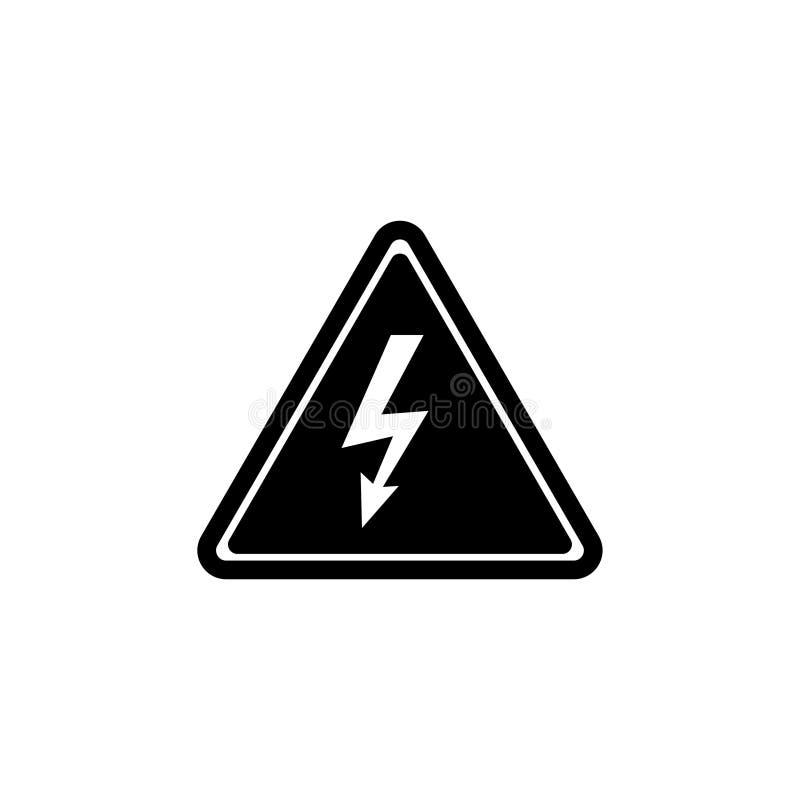 Atenção de alta tensão, ícone liso do vetor do perigo bonde ilustração stock