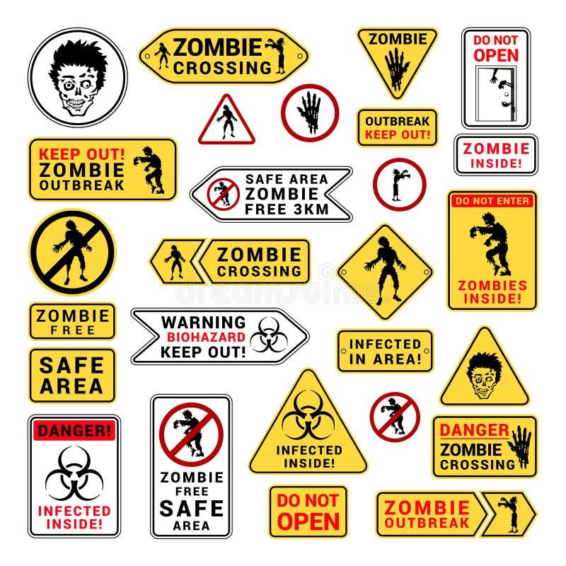 A atenção do zombi é cuidadoso e adverte o grupo do sinal ilustração stock