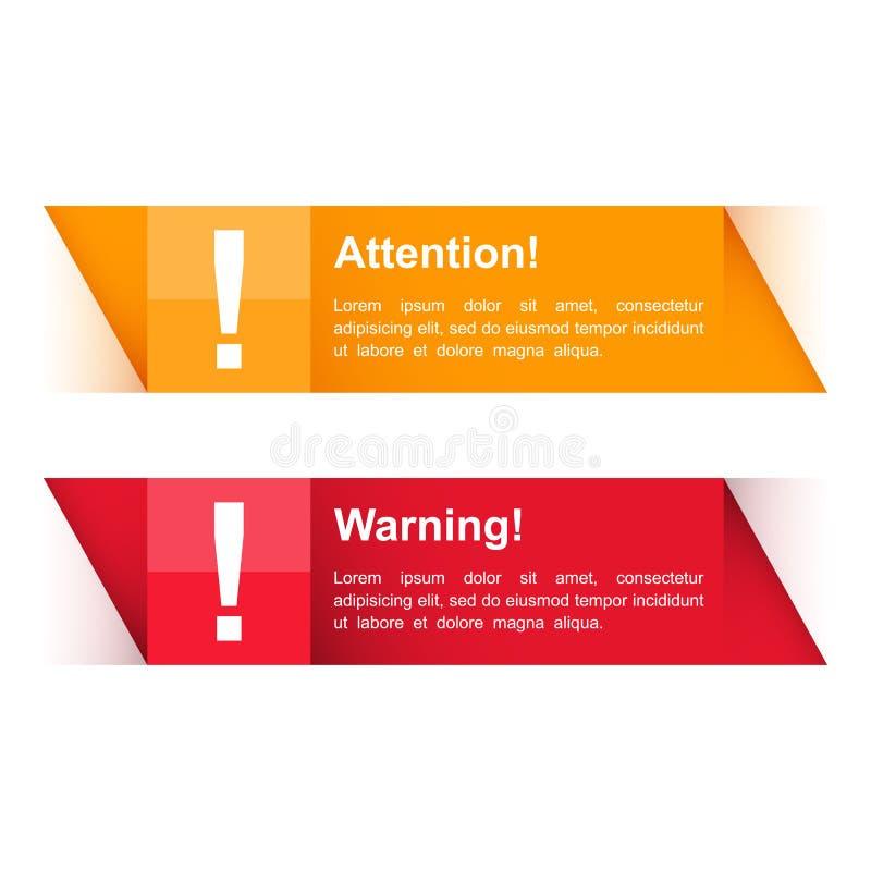 Atenção e bandeiras de advertência ilustração royalty free