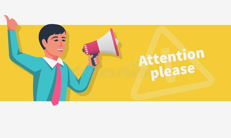Atenção, por favor Um marcador sorridente com um microfone faz um anúncio ilustração royalty free