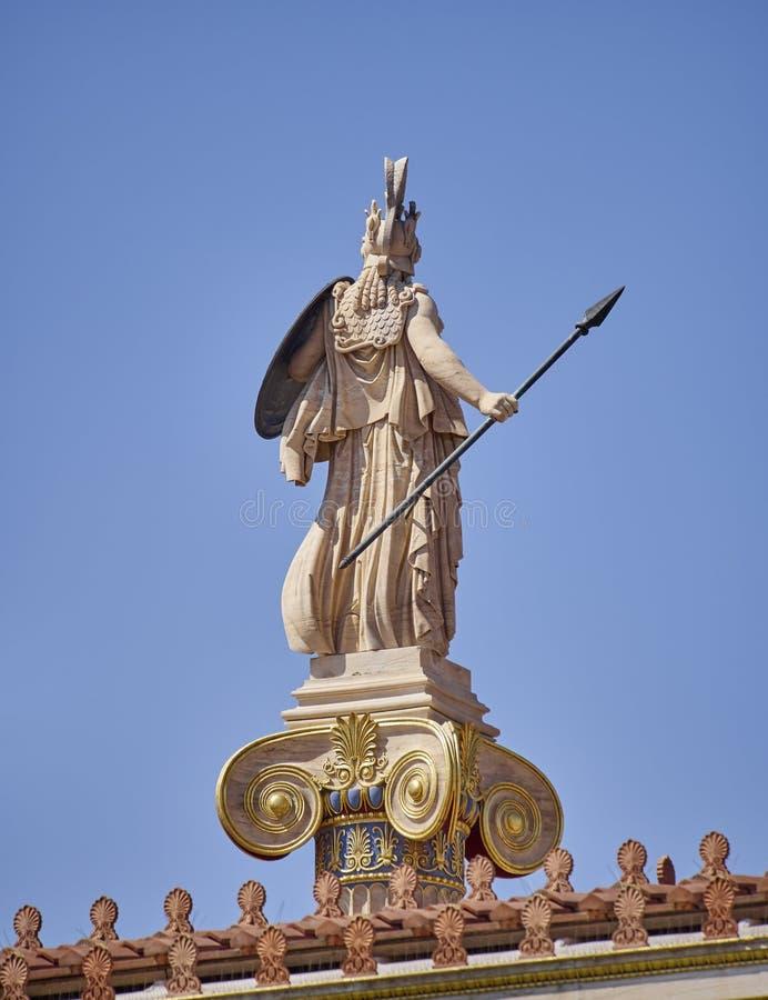 Aten Grekland, baksidasikt av den Athena statyn arkivbilder