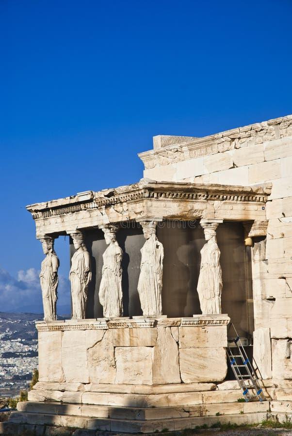 Aten Grekland för karyatidErechteion akropol arkivfoton