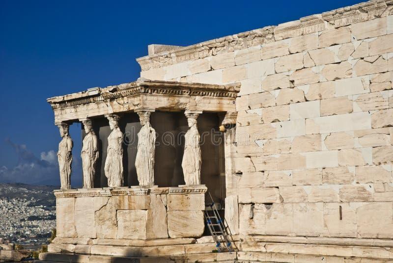 Aten Grekland för karyatidErechteion akropol royaltyfri bild