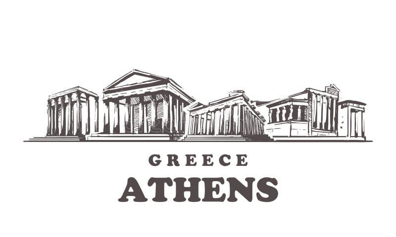 Aten skissar horisont Grekland Aten räcker den utdragna vektorillustrationen vektor illustrationer